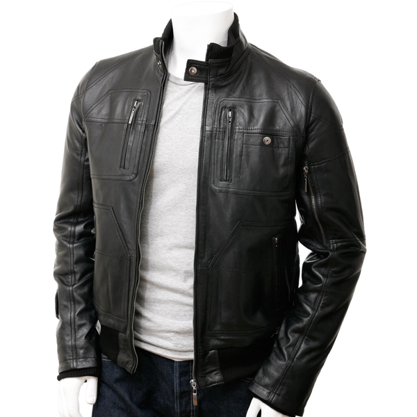 Black Mens Bomber Style Leather Jacket