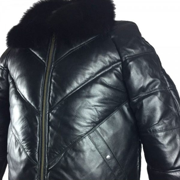a60e22b0efe Mens Bomber Lambskin Leather Jacket with Fox Fur Collar