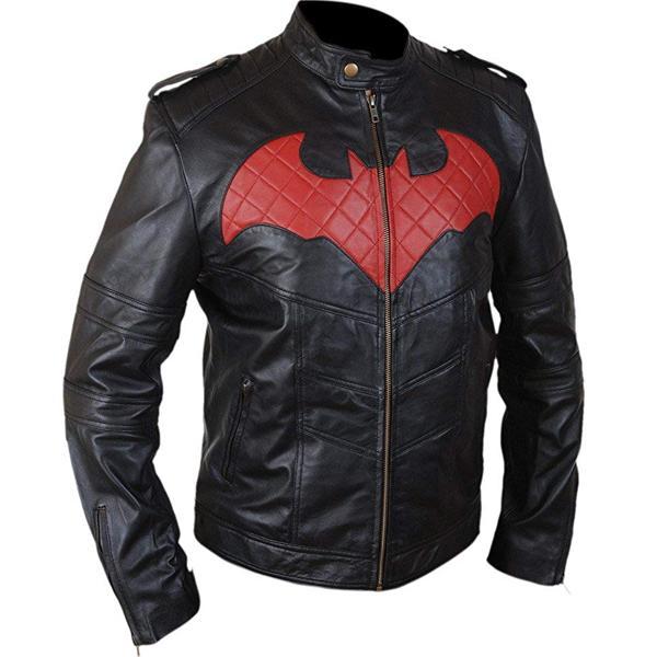 BATMAN ARKHAM SUPER HERO LOGO MOTORCYCLE BIKER REAL LEATHER BLACK MEN/'S JACKET