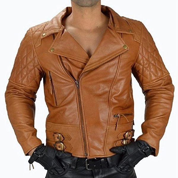 Biker Jacket Men's Motorcycle Quilted Leather Jacket