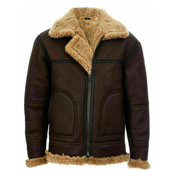 Details about  /Men/'s B3 Bomber Flying RAF Aviator Genuine Sheep Skin Leather Fur Collar Jacket